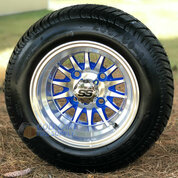 """10"""" PHOENIX BLUE/ Machined Wheels and 205/50-10 Low Profile DOT Tires Combo - Set of 4"""