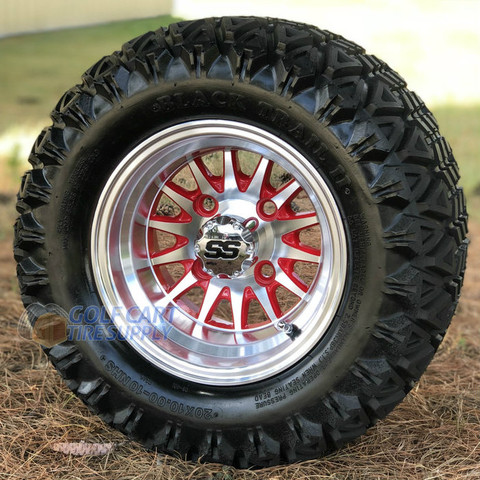 """10"""" PHOENIX RED/ Machined Wheels and 20x10-10 DOT All Terrain Tires Combo - Set of 4"""