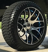 """14"""" GTW Pursuit Machined/ Blue Wheels and 205/30-14 DOT Tires Combo - Set of 4"""