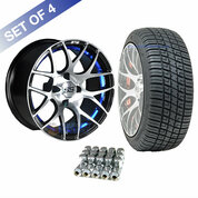 "14"" GTW Pursuit Machined/ Blue Wheels and 205/30-14 DOT Tires Combo - Set of 4"