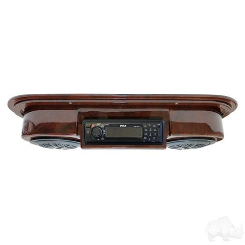 Golf Cart Radio / Golf Cart Speakers in Woodgrain (POLK/PYLE Overhead Console)