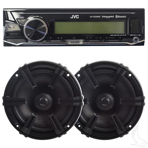 Golf Cart Radio / Speakers - Stereo System w/ Bluetooth JVC Receiver + Polk Speakers