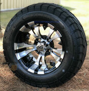"12"" VAMPIRE Machined Aluminum Wheels and 22x9.5-12"" ELITE Street DOT Tires Combo"