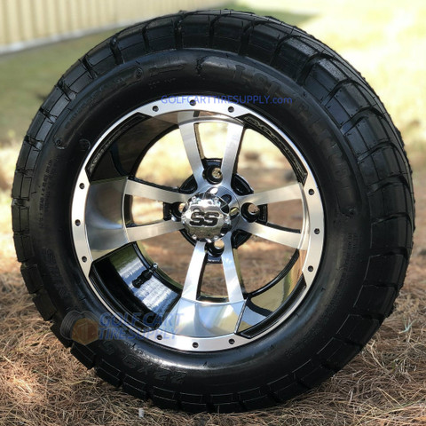 "12"" STORM TROOPER Machined Aluminum Wheels and 22x9.5-12"" ELITE Street DOT Tires Combo"