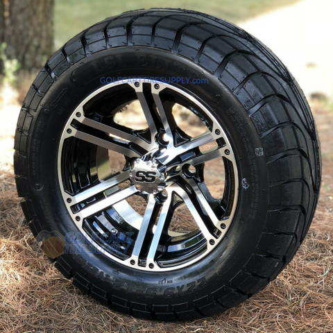 "12"" TERMINATOR Machined Aluminum Wheels and 22x9.5-12"" ELITE Street DOT Tires Combo"