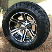 "12"" TERMINATOR Machined Aluminum Wheels and 22x9.5-12"" ELITE Street DOT Tires Combo"