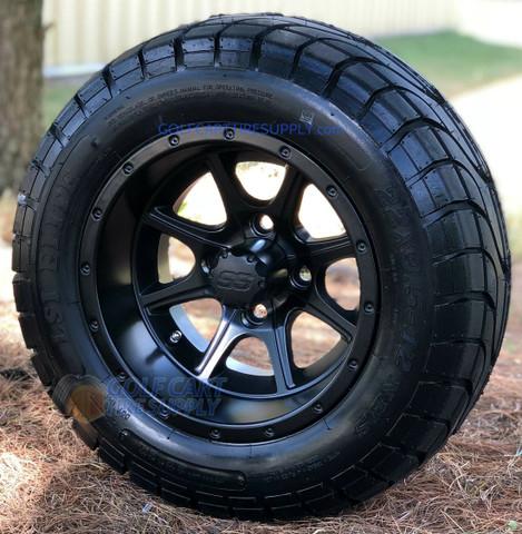 """12"""" TREMOR Matte Black Aluminum Wheels and 22x9.5-12"""" ELITE Street DOT Tires Combo"""