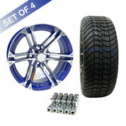"15"" TERMINATOR Machined/ BLUE Wheels and Innova Driver 205/35R-15"" Low Profile DOT Tires Combo - Set of 4"