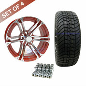 "15"" TERMINATOR Machined/ RED Wheels and Innova Driver 205/35R-15"" Low Profile DOT Tires Combo - Set of 4"