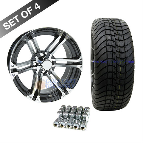 """15"""" TERMINATOR Machined/ BLACK Wheels and Innova Driver 205/35R-15"""" Low Profile DOT Tires Combo - Set of 4"""