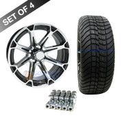 "15"" RHOX AC599 Machined/ Black Wheels and Innova 205/35R-15"" DOT Tires Combo"