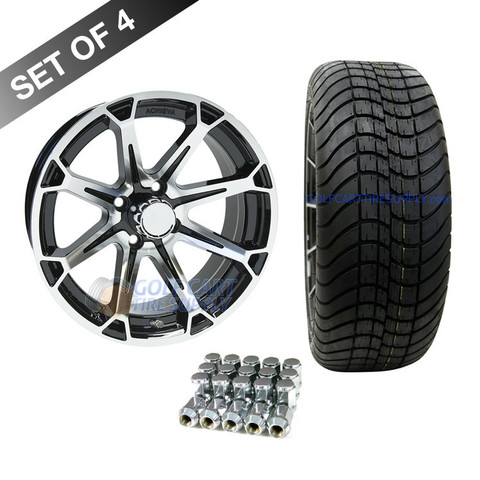 "15"" RHOX AC599 Machined/ Black Wheels and Innova 205/35R-15"" DOT Tires Combo"