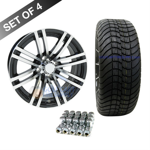 "15"" RHOX AC528 Machined/ Black Wheels and Innova Driver 205/35R-15"" Low Profile DOT Tires Combo"