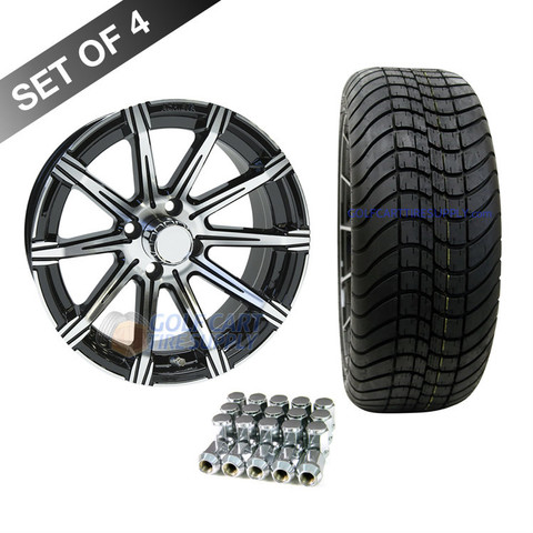 "15"" RHOX AC598 Machined/ Black Wheels and Innova Driver 205/35R-15"" Low Profile DOT Tires Combo"