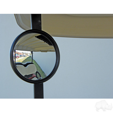 Golf Cart Side Mirror (Round, Side Mount Rear View)
