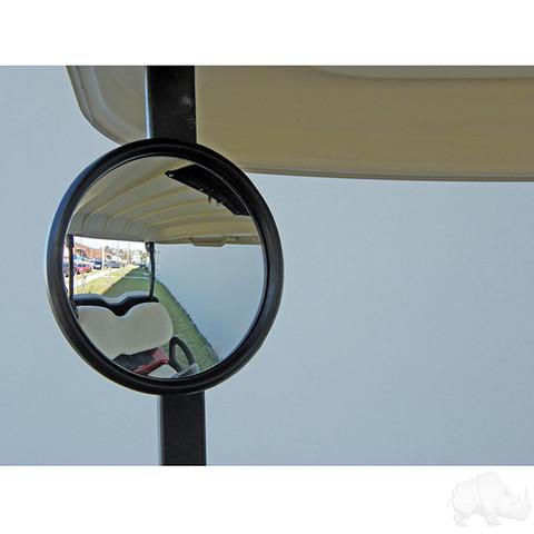 Golf Cart Side Mirror (Round, Side Mount Rear View)