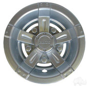 "8"" RHOX Vegas Metallic Matte Silver Golf Cart Wheel Covers"