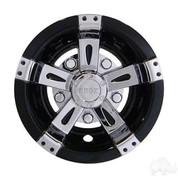 "10"" VEGAS Black/ Chrome Golf Cart Wheel Covers (Set of 4)"