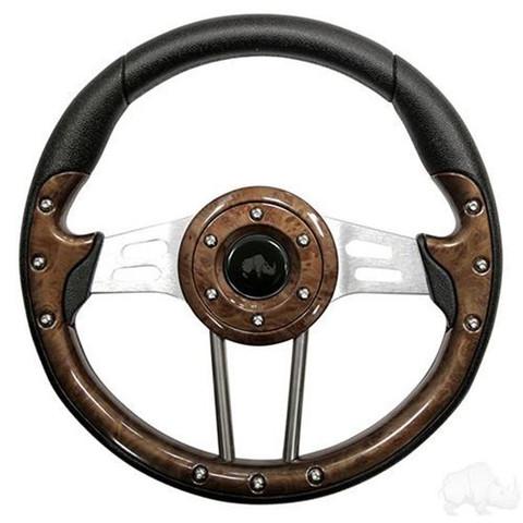 "13"" Aviator 4 Steering Wheel - Woodgrain"