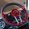 "Club Car DS Steering Wheel 13"" Aviator4 Red Grip w/ Black Spokes"