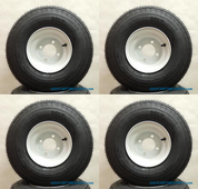RHOX 18x8.50-8 Golf Cart Tires and White 8x7 Steel Wheels Combo - Set of 4