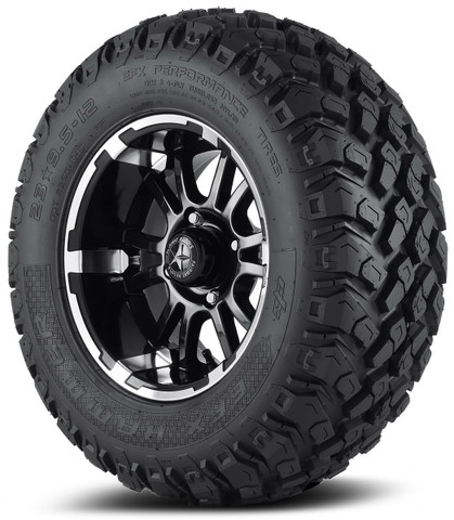 "Fairway Alloys 12"" SIXER Wheels on 23"" EFX HAMMER All Terrain Tires"