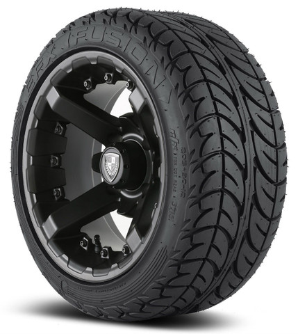 "12"" BATTLE Matte Black Wheels and EFX 205/30-12"" DOT Street Tires"