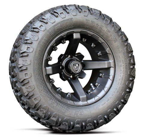 "12"" BATTLE Matte Black Wheel and 23"" EFX Hammer All Terrain Tires"