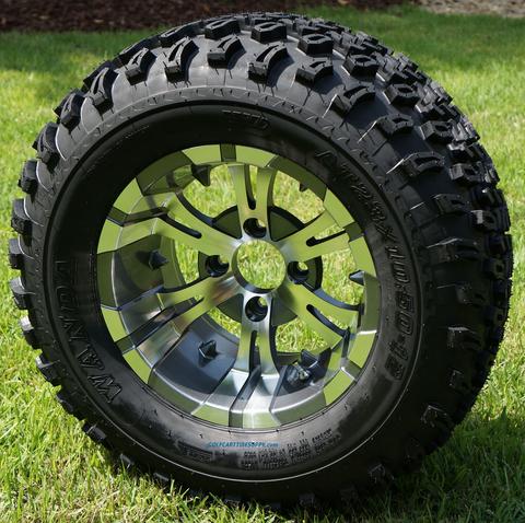 "12"" VAMPIRE Gunmetal Wheels and 23"" All Terrain Tires Combo"