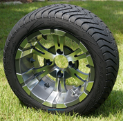 "12"" VAMPIRE Gunmetal Aluminum Wheels and 215/40-12"