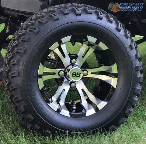 "12"" VAMPIRE Golf Cart Wheels and 23"" All Terrain Tires Combo"