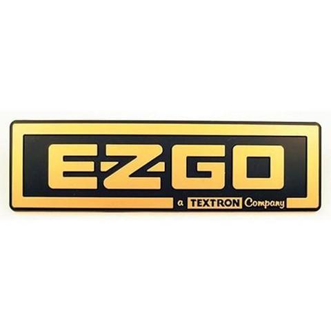 EZGO TXT Front Name Plate/ Emblem - Black & Gold Logo (For 1996-2013)