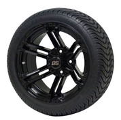 "14"" TERMINATOR Gloss Black Aluminum wheels and 205/30-14 DOT Low Profile Tire Combo - Set of 4"