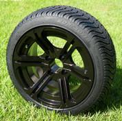"14"" TERMINATOR Gloss Black Aluminum wheels and 205/30-14 DOT Low Profile Tire Combo - Set of 4"