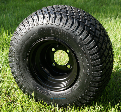 "8"" Black Steel Golf Cart Wheels and 18x8.50-8"" Turf/ Street Tires Combo"