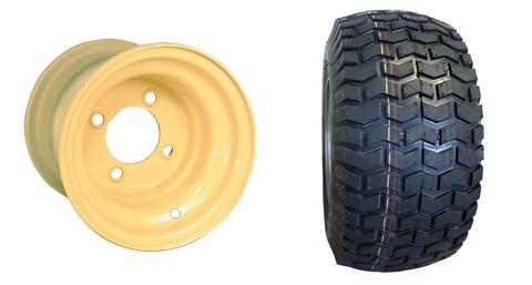 "8"" Beige/ Almond Steel Golf Cart Wheels and 18x8.50-8"" Turf/ Street Tires"