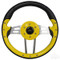 "EZGO Steering Wheel 13"" Aviator4 Yellow Grip w/ Black Spokes"