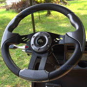 "EZGO 13"" Aviator-5 Carbon Fiber Golf Cart Steering Wheel w/ Black Aluminum Spokes"