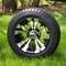 "12"" VAMPIRE Black/ Machined Wheels and StreetRide 215/50-12 Tires"