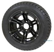 "12"" TERMINATOR BLACK Wheels and 215/50-12 StreetRide DOT Tires"