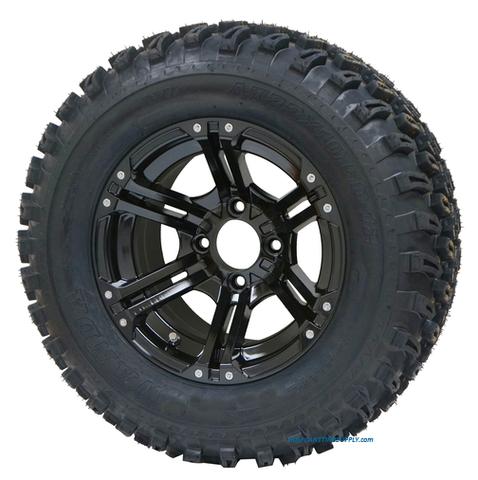"12"" TERMINATOR Black Aluminum Wheels and 23x10.5-12"" All Terrain Tires"
