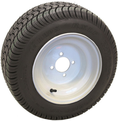 "10"" White Steel Golf Cart Wheels and 18x8-10 (205/50-10) DOT Golf Cart Tires"