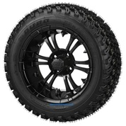 "14"" VAMPIRE Matte Black Aluminum Wheels and 23"" DOT All Terrain Tires Combo"