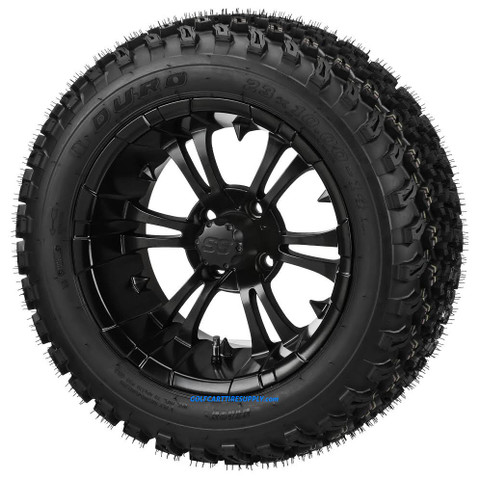 """14"""" VAMPIRE Matte Black Aluminum Wheels and 23"""" DOT All Terrain Tires Combo"""