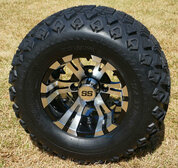 "10"" VAMPIRE Golf Cart Wheels and 20x10-10 DOT All Terrain Tires"