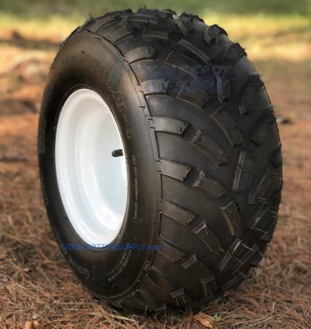 """RHOX 8"""" White Steel Wheels and 18x8-8 RXAL All Terrain Golf Cart Tires"""
