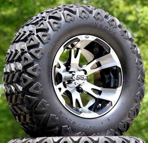 "12"" RUCKUS Machined/ Black Wheels and 23x10.5-12"" DOT All Terrain Tires Combo"