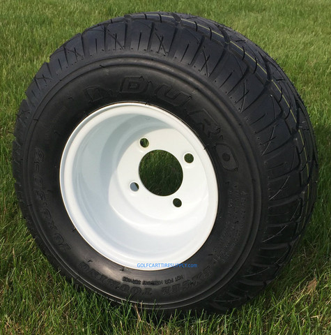 Duro Excel Touring 18x8.5-8 Golf Cart Tires and OEM White Steel Wheels Combo