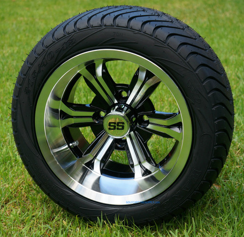 """12"""" TRANSFORMER Machined Wheels and 215/40-12 DOT Golf Cart Tires Combo"""
