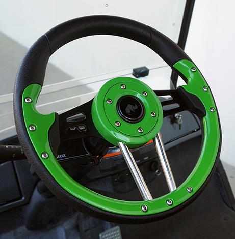"Club Car DS Steering Wheel 13"" Aviator4 Lime Green Grip w/ Black Spokes"